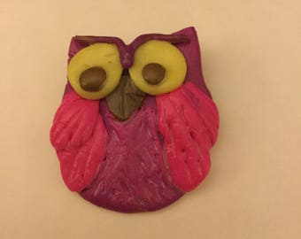 New Hand made Owl Brooch pin badge pinks fimo cute cartoon character style
