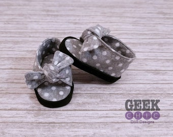 "Gray Polka Dot Bow Front Shoes, fits 14.5"" dolls"