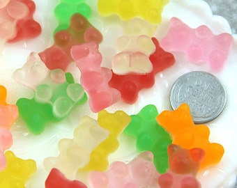23mm Fake Gummy Bears Cabochons -  Regular Size - for your faux food craft ideas - 6 pc set
