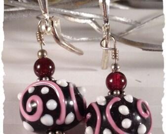 Cranberry Swirls Sterling Earrings--Garnets and Lampwork--January Birthstone
