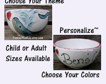 Pottery Personalized bowl custom ice cream bowl custom popcorn bowl custom snack bowl custom cereal bowl custom chowder soup bowl salad