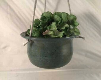 Small Blue/Green Hanging Planter - Second
