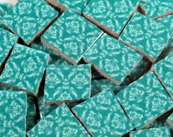 Ceramic Mosaic Tiles - Turquoise Blue And White Damask Mosaic Tile Pieces - 40 Pieces - Mosaic Art / Mixed Media Art/Jewelry
