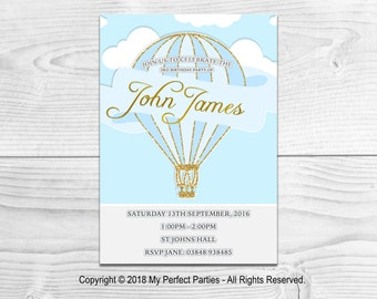 Personalised Blue Hot Air Balloon Children's Birthday Party Invitations - PACK OF 10