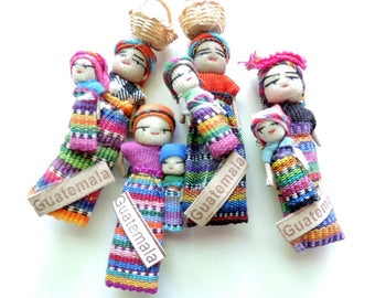 Cute Fridge Magnets, Guatemala Worry Doll, Mexican Magnet, Kitchen Decor, Unique Gifts, Worry Dolls, Mommy and Baby Doll