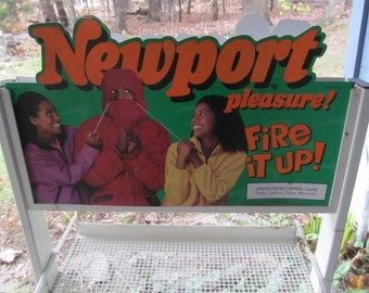 Double Sided Newport Cigarette Display Stand Tobacco Advertisement Country Store Display Sign Cigarette Sign Tobacco Memorabilia  Tobacciana