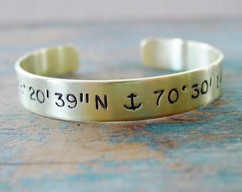 Coordinate Bracelet, Brass or Copper, Latitude Longitude Location Bracelet, Anchor Jewelry, Delta Gamma Sorority Gift, Custom Hand Stamped