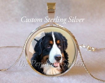 CUSTOM STERLING PET Pendant Personalized Custom Cat Necklace Dog Pendant Photo Kitty Lover Gift for Dog Lover Your Pet Photo Pet Memorial
