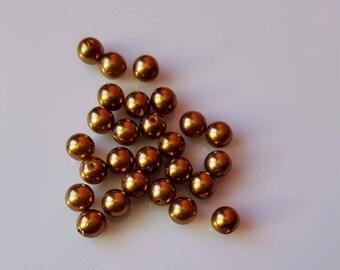 45 6mm bronze glass beads