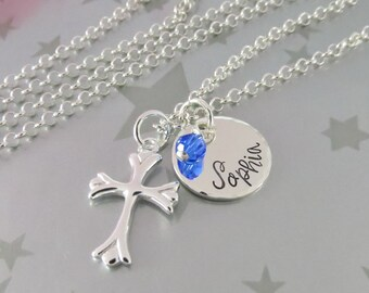 Personalized Hand Stamped First Communion Necklace in Sterling Silver with Flared Cross and Birthstone of Swarovski Crystal.