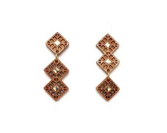 Square gold drop earrings Gold earrings, Wooden earrings for women Long post earrings, Asymmetrical earrings Geometric earrings Wood jewelry