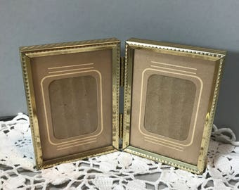 Vintage Double Small Gold Metal Picture Frame 3 1/2 x 5 Hinged Gold Metal Photo Frame with Mat, School Photo Frame, Table Top Frame