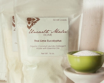 ON SALE!  Organic Coconut Laundry Detergent, Thai Lime Eucalyptus Essential Oils, Anti-Bacterial, Anti-Fungal, Great for Dust Mite Allergies