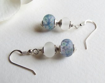 Dangle Earrings, Etched  Handmade Lampwork Beads and Sterling Silver, Smokeylady54