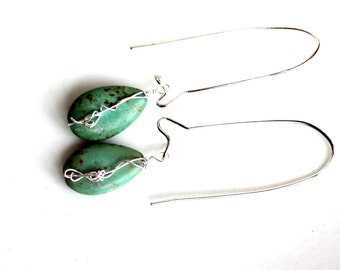wire wrapped teal earrings / teardrops magnesite gemstone sterling wrapped green / spots of brown