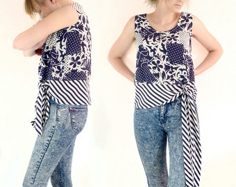 Patchwork blue vintage top