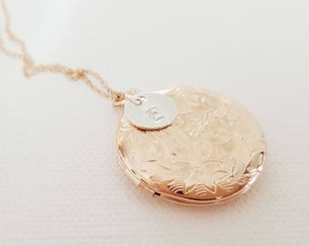Custom Rose Gold Initial Locket - Bridesmaid Locket - Personalized Locket - Flowergirl Locket - Heart Necklace - Antique Silver Locket