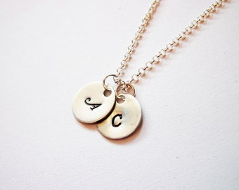 Two Initials Necklace, personalized necklace, two discs Silver necklace, engraved monogrammed necklace, hand stamped necklace