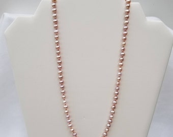 Hand-knotted, Pink Freshwater Pearl Necklace