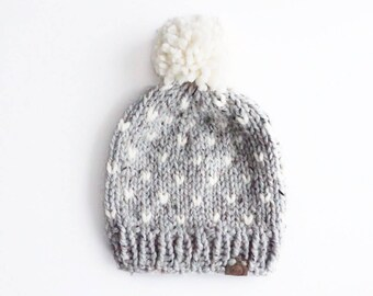 Thick Knit Heart Hat with Pom | Grey