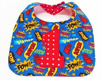 Super Hero First Birthday Bib Cake Smash Bib Baby Boy Bib Super Hero 1st Birthday Bib Smash Cake Bib
