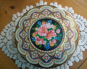 Daher Mosaic Decorative Pointillism Style Tin - 1960s Collectible Storage Tin Container - Made in England - Mid-Century