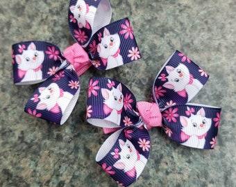 Set of 2 Marie aristocats hair bows non slip alligator clip cartoon toddler girl