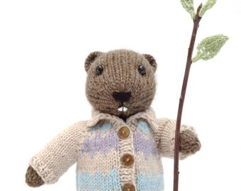 Beaver with Sweater Coat Knitting Pattern
