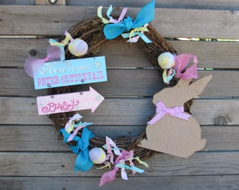 """18"""" Easter Wreath Easter Bunny Wreath Easter Egg Wreath Peter Cottontail Wreath Pink Turquoise Yellow Wreath Easter Grapevine Wreath"""