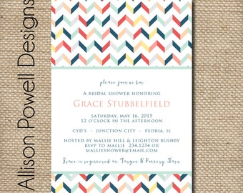 Turquoise, Grey, Coral Bridal Shower - Bridal Luncheon - Baby Shower - Engagement Party - Invitations - Chevron - Print your own