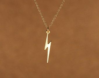 Lightning bolt necklace - gold lightning bolt - thunder - storm - a 22k gold overlay lightning bolt on a 14k gold vermeil chain