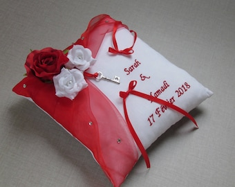 Love theme wedding cushion, red roses, personalized