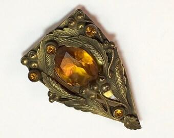 30s Amber Glass Dress Clip