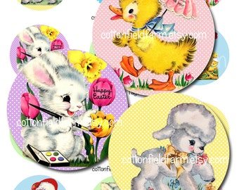 Retro Easter Tags 2 Inch Circles Digital Collage Sheet C-540 for Tags, Stickers, Scrapbooking, Journaling Spots, Cardmaking, Cupcake Toppers