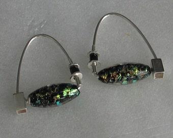 Confetti Green and Black Czechoslovakian Glass Beads Hoop