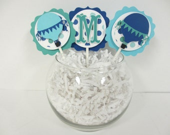 Hot Air Balloon Cupcake Cake Toppers Birthday Party Shower Set of 12 Aqua Turquoise Royal Blue Teal