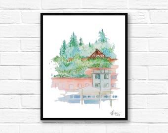 Seattle Art, Tree Illustration, Explore, Adventure, Abstract Landscape, Hills, Wall Art, Trees, Landscape, Patterns, Serene, Outdoor Art