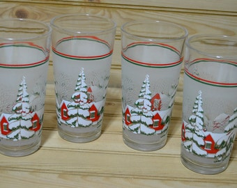 Vintage Christmas Glasses KIG Indonesia Frosted Winter Scene Holiday Decoration Decor Set of 4