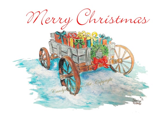 Wagon Load of Blessings Christmas Cards Package of 20