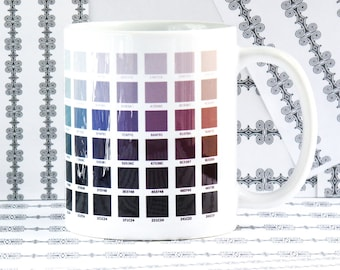 Gradient Mug, Muted Colors, Hex Codes, RGB, Graphic Design, Color Swatches, Gift for Designer, Computer Graphics, Dishwasher, Microwave Safe