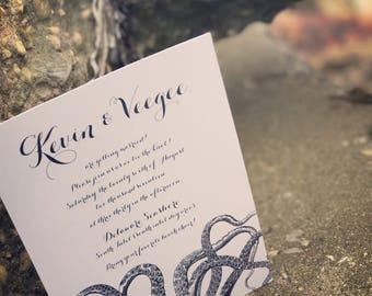 Octopus Wedding Invitation, Nautical Wedding Invitation, unique weddin invitation, coastal, Navy Invitation, Modern Wedding Invitation