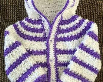 Baby Girl Crocheted Hooded Sweater
