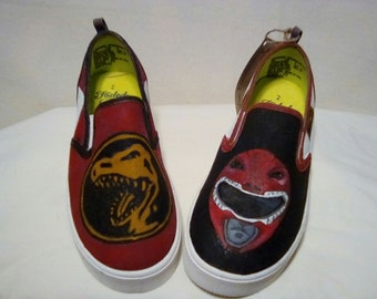 Size 2 Boys Hand Painted Red Power Ranger shoe