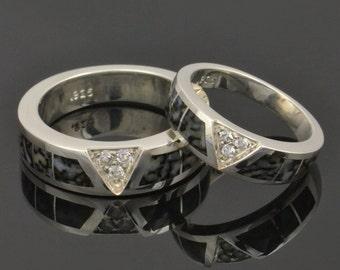 Dinosaur Bone Wedding Ring Set With White Sapphires Set in Sterling Silver- Dinosaur Bone Ring Set