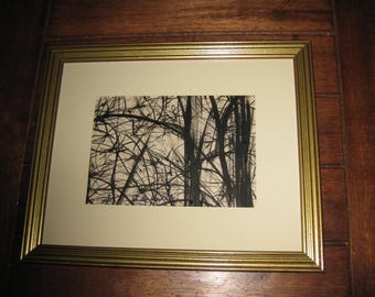 """Conchetta Del La Ray 1970 Pen and Ink Drawing Black and White Drawing Trees And Branches In Goldtone Frame 9"""" x 11 """""""