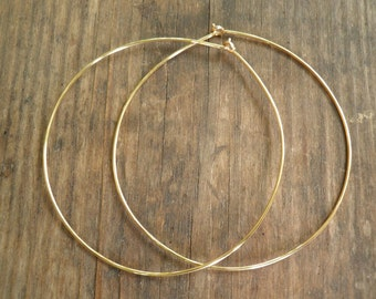 Thin Gold Hoops, Large Gold Hoops, Simple Hoop Earrings, High Quality Gold Hoops, 14k Gold Filled Hoops, Gold hoops, Gold Wire Hoop Earrings