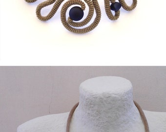 Brown Black Crochet Tube Statement Necklace