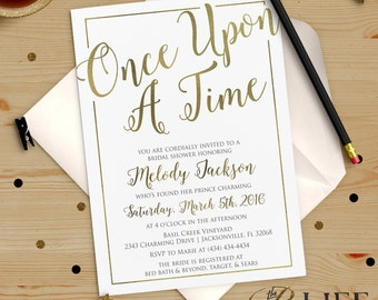 Once upon A Time Bridal Shower Invitation Printable DIY No. I274