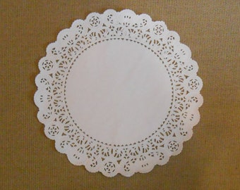 Paper Lace Doilies / White 10 Inch Paper Doily /  Baking Supplies / Paper Supplies / Paper Cake Doily - 50 / Cake Liners