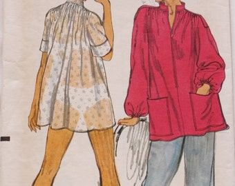 Vogue 9223 Top, Tunic Smock Sewing Pattern Bust 32 1970s Very Easy Vogue
